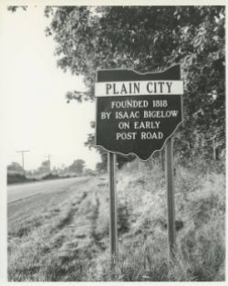1968. One of Plain City's new signs on Rt. 42 near Pastime Park