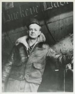 "Photograph of Hershel ""Bud"" Dunmire taken during World War II, 1944, in Polebrooke, England."